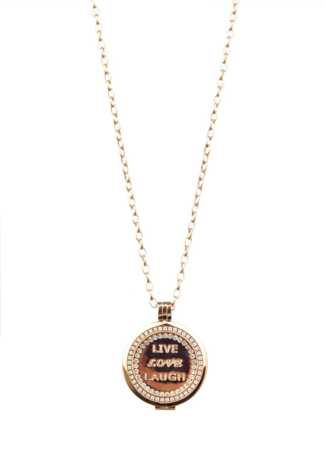 Absolute Jewellery Live Love Laugh Coin Pendant, Rose Gold
