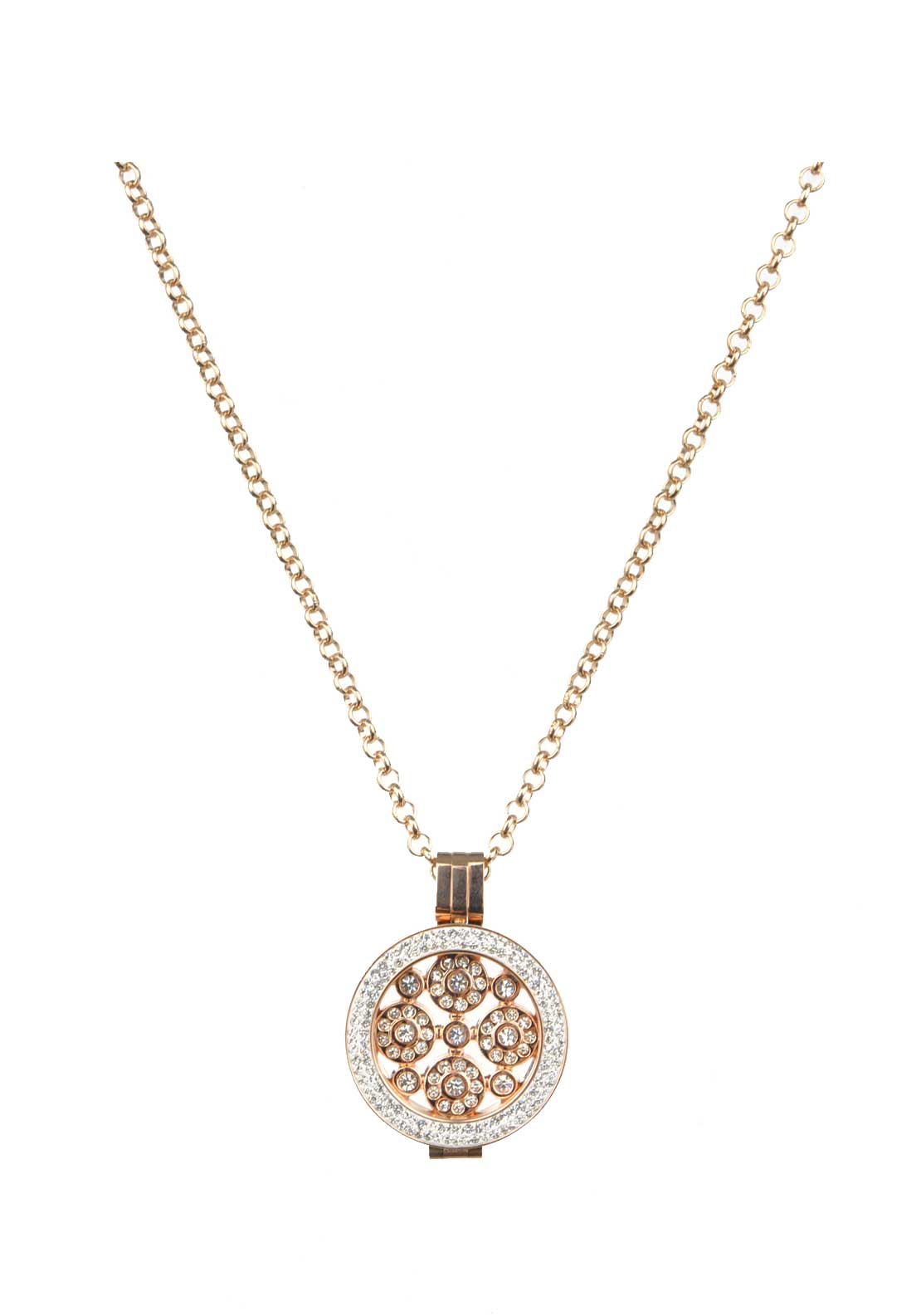 Absolute Jewellery Small Circles Pattern Pendant and Chain, Rose Gold