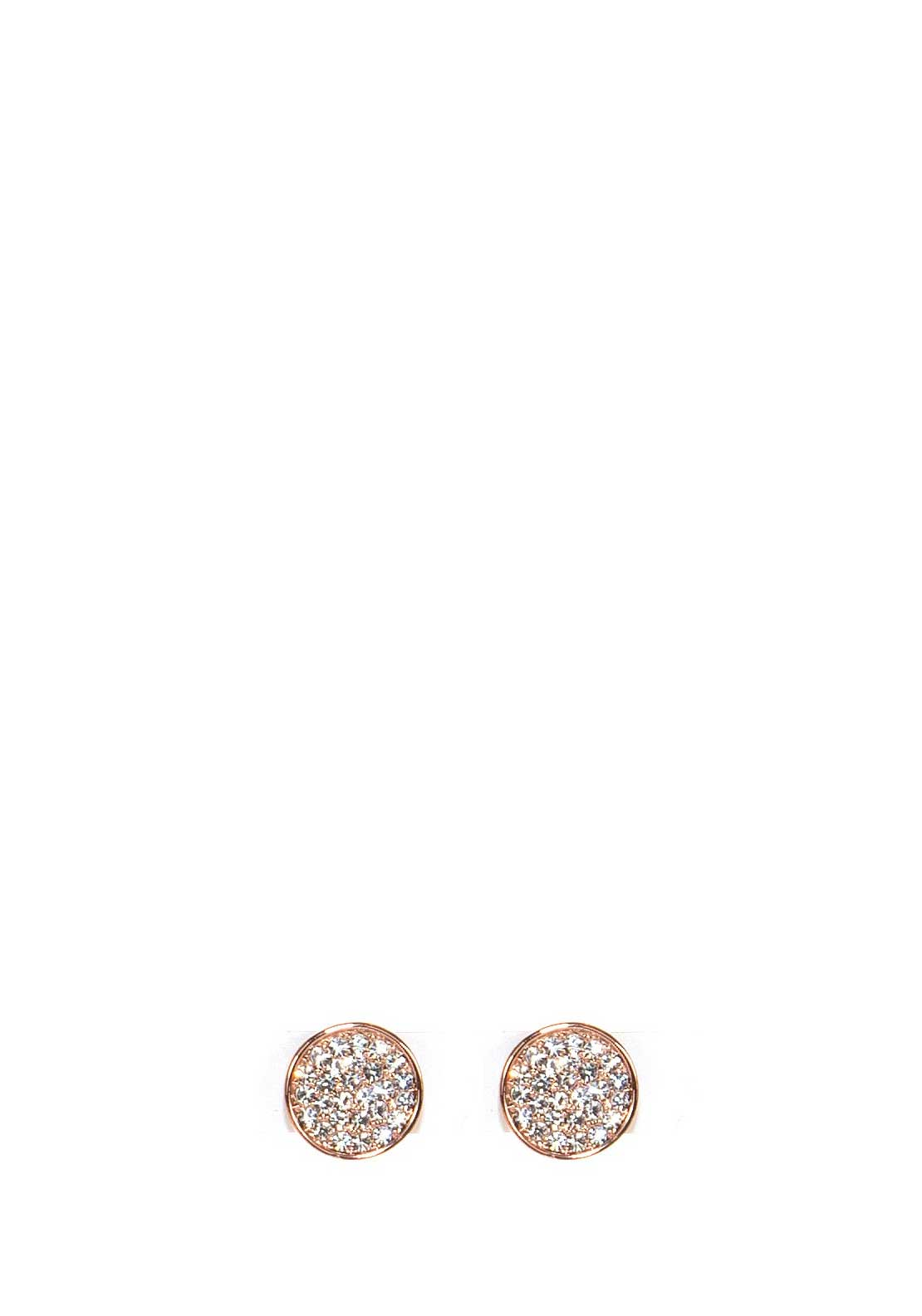 Absolute Jewellery Crystal Studded Disc Earrings, Rose Gold