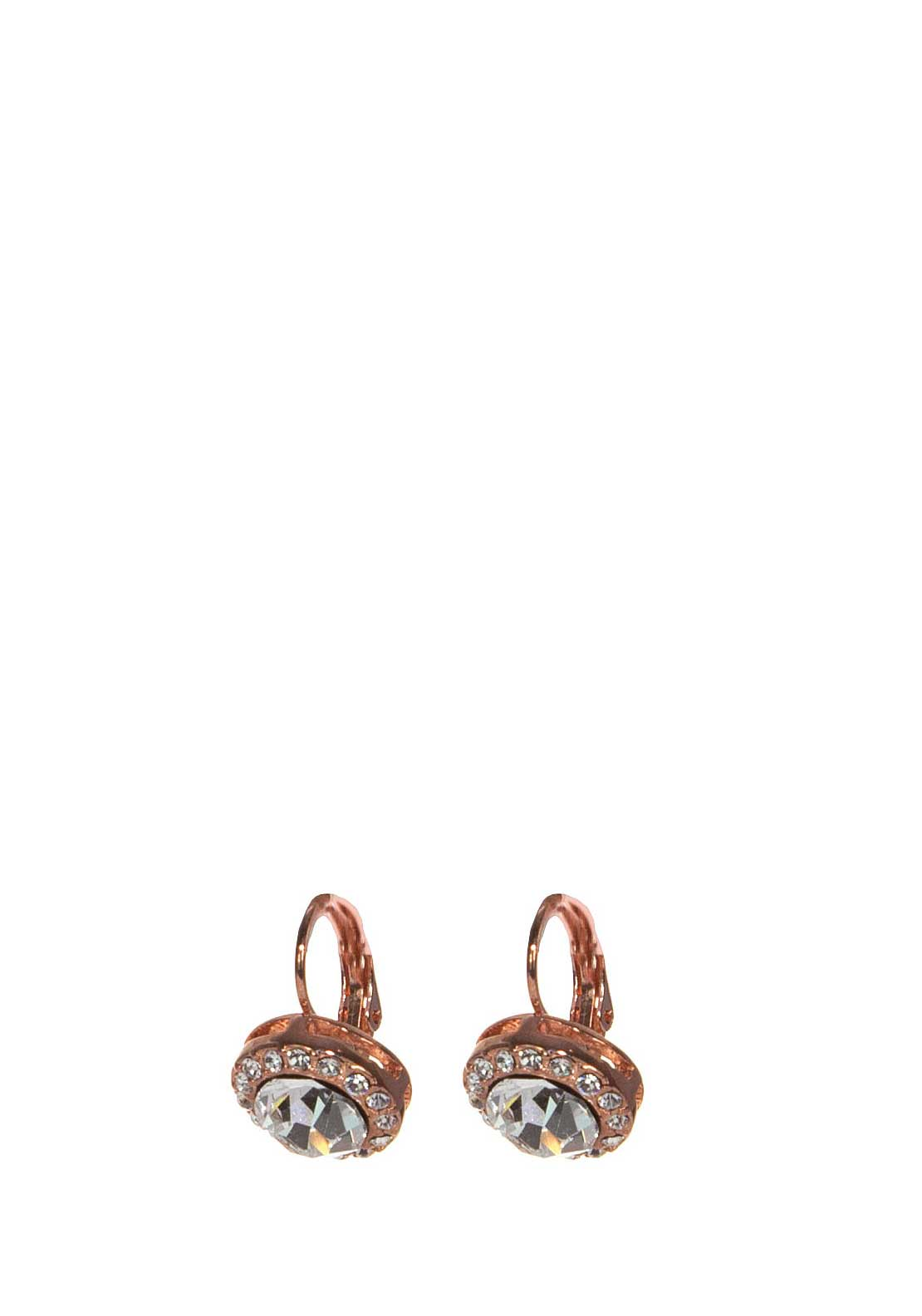 Absolute Jewellery Crystal Halo Earrings, Rose Gold