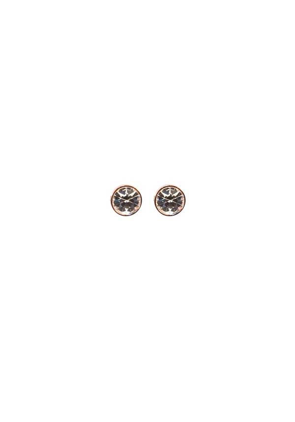 Absolute Jewellery Crystal Stud Earrings, Rose Gold