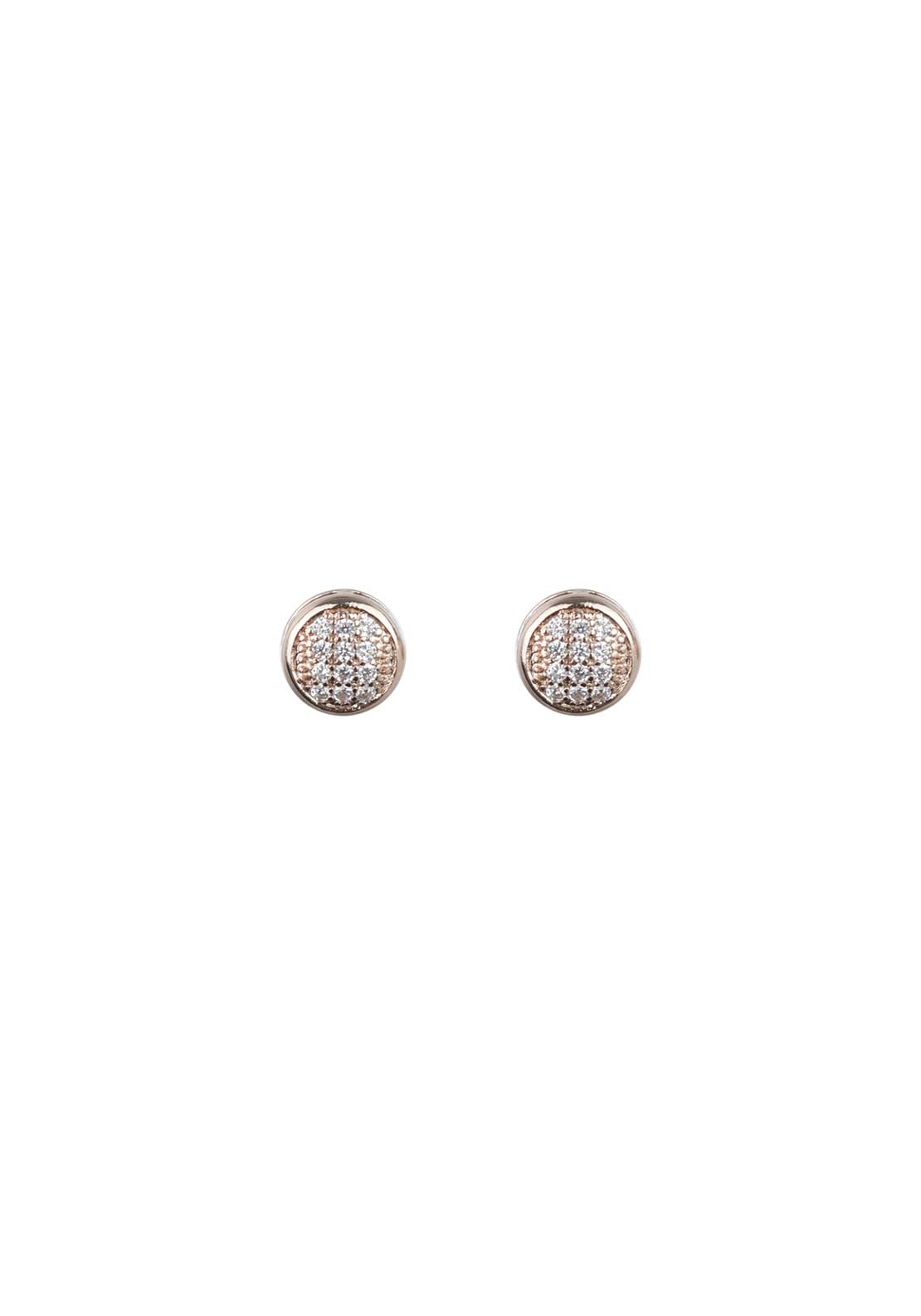 Absolute Jewellery Girls Small Pave Stud Earrings, Rose Gold