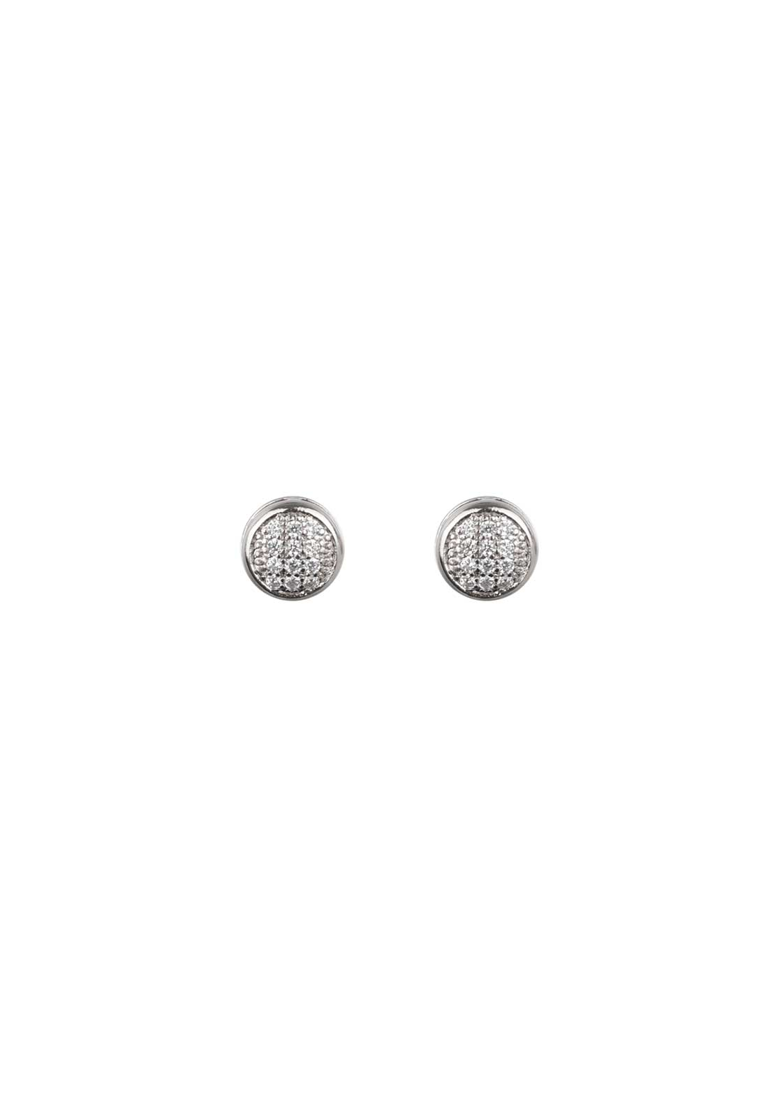 Absolute Jewellery Girls Small Pave Stud Earrings, Silver