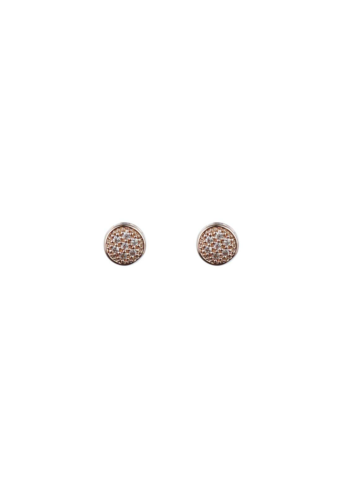 Absolute Jewellery Girls Tiny Pave Stud Earrings, Rose Gold