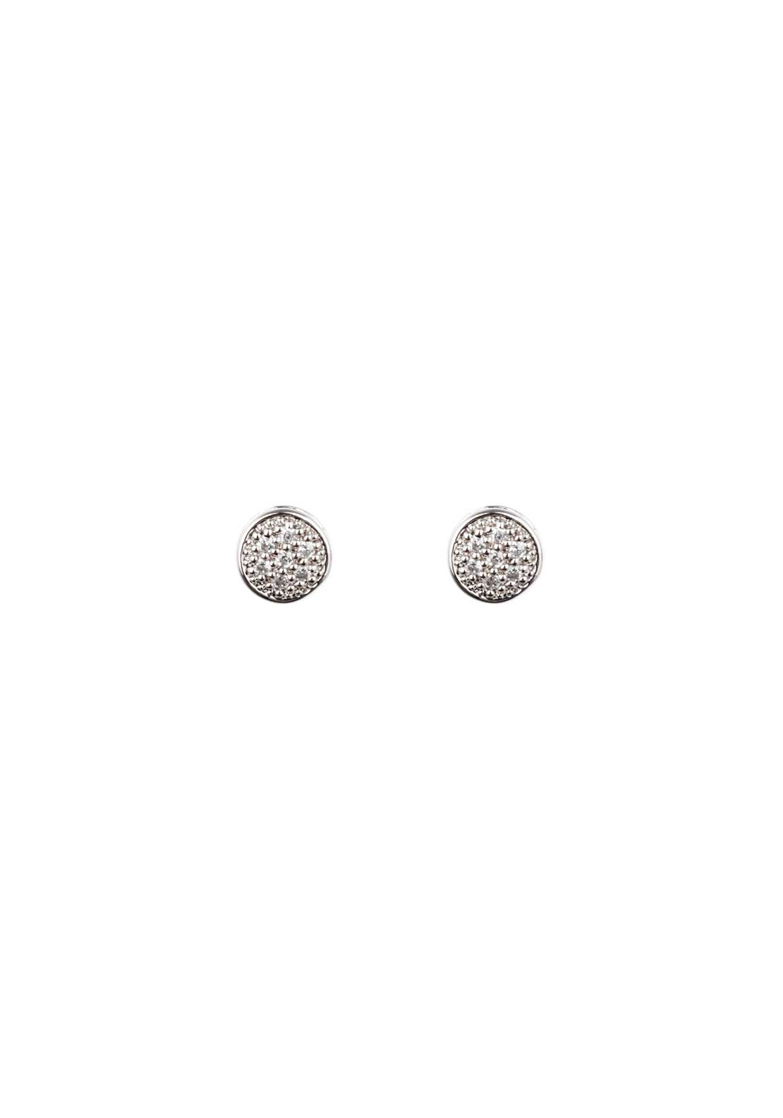 Absolute Jewellery Girls Tiny Pave Stud Earrings, Silver