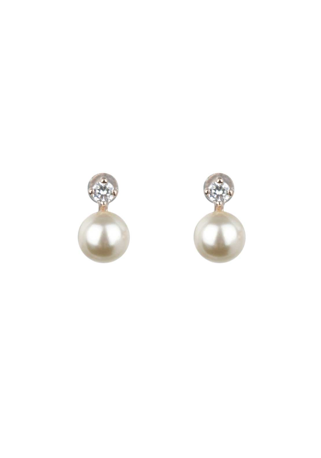 Absolute Jewellery Girls Small Pearl and Pave Stud Earrings, Rose Gold