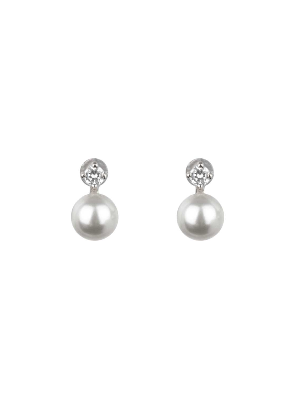 Absolute Jewellery Girls Small Pearl and Pave Stud Earrings, Silver