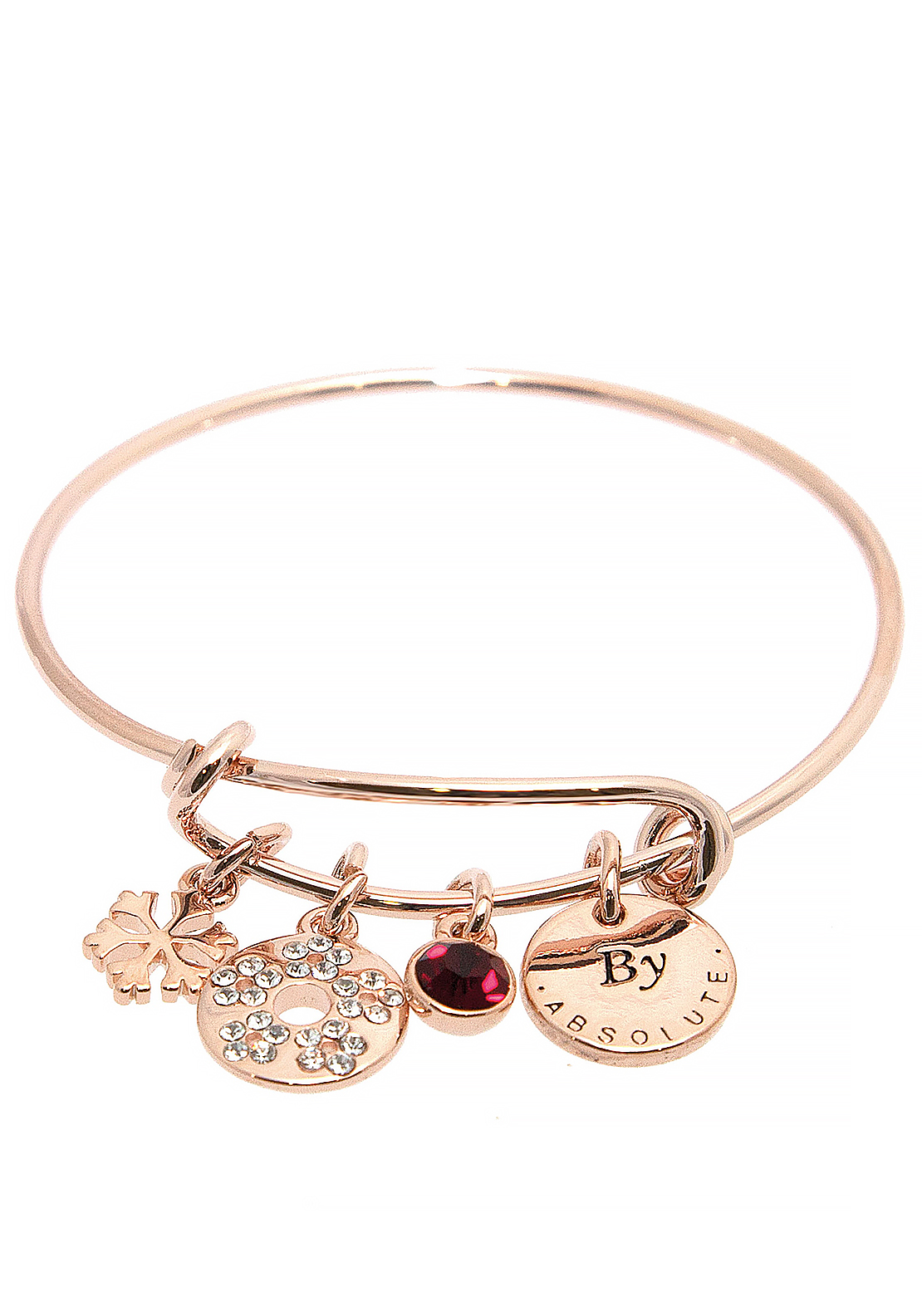 Absolute Jewellery Girls January Charm Bangle, Rose Gold