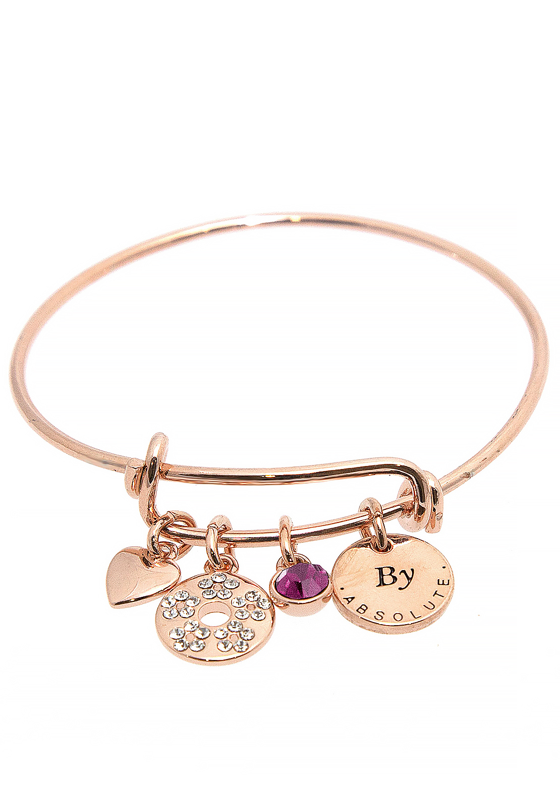 Absolute Jewellery Girls February Charm Bangle, Rose Gold