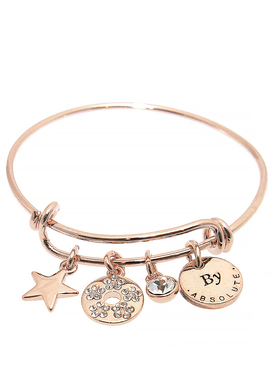 Absolute Jewellery Girls April Charm Bangle, Rose Gold