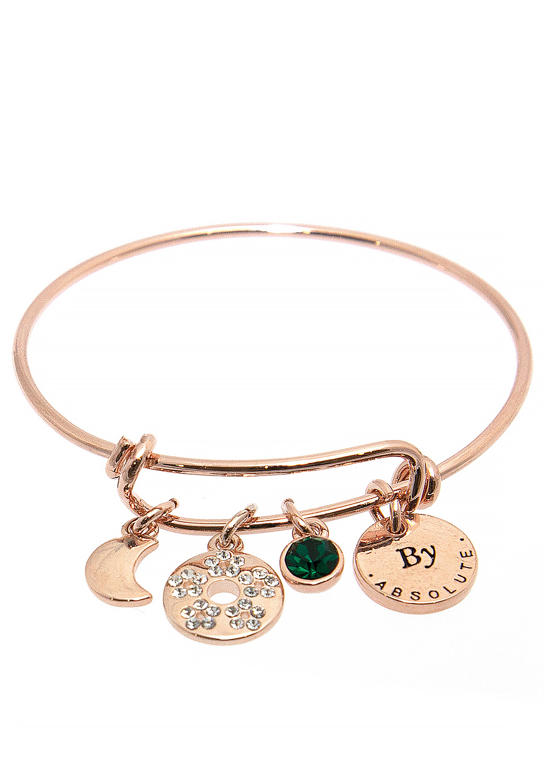Absolute Jewellery Girls May Charm Bangle, Rose Gold