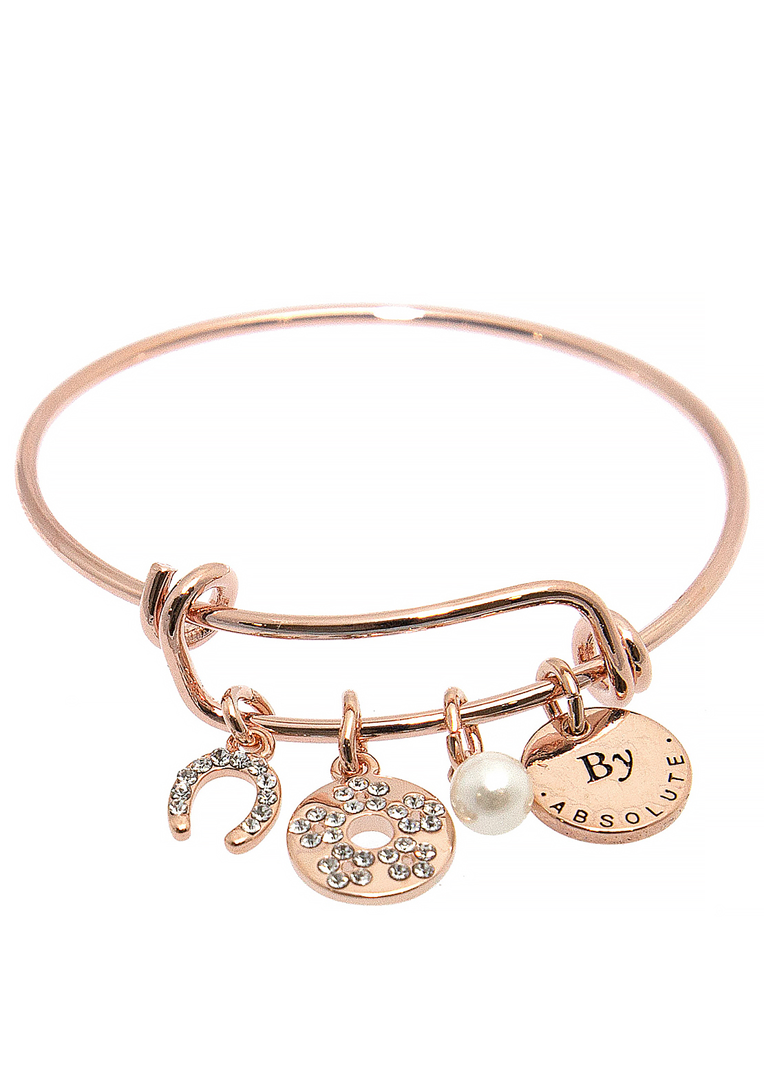 Absolute Jewellery Girls June Charm Bangle, Rose Gold