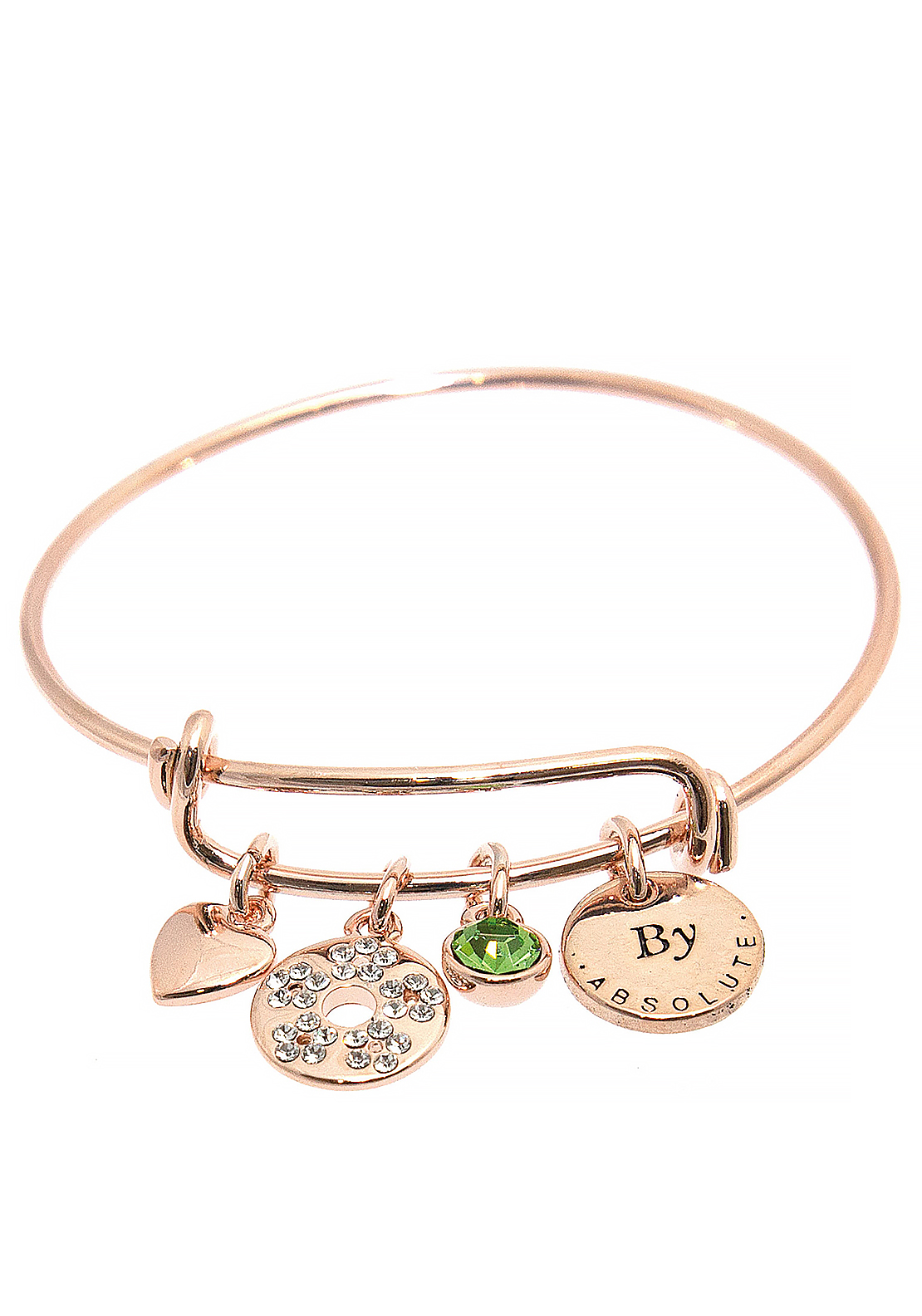 Absolute Jewellery Girls August Charm Bangle, Rose Gold