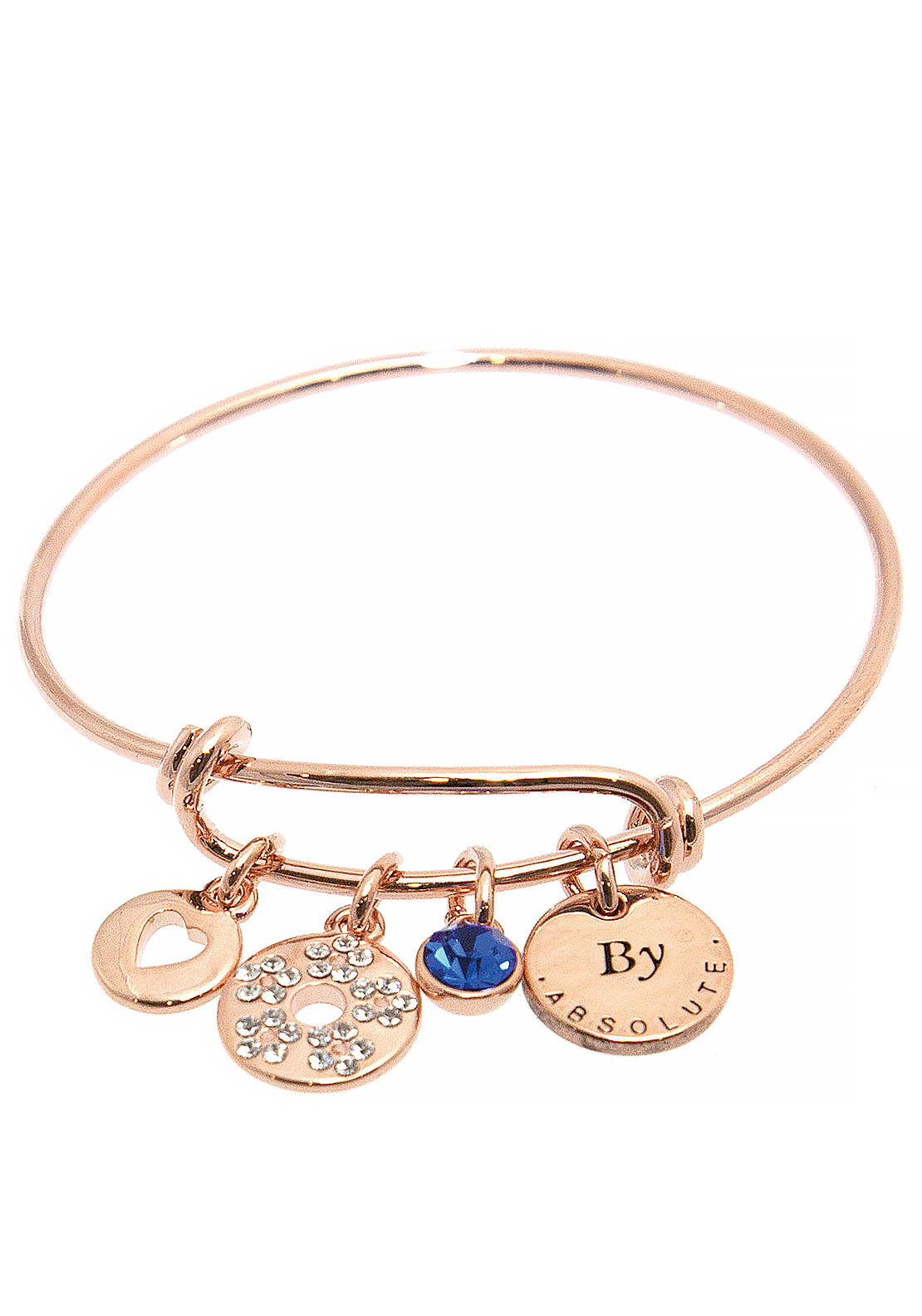 Absolute Jewellery Girls September Charm Bangle, Rose Gold