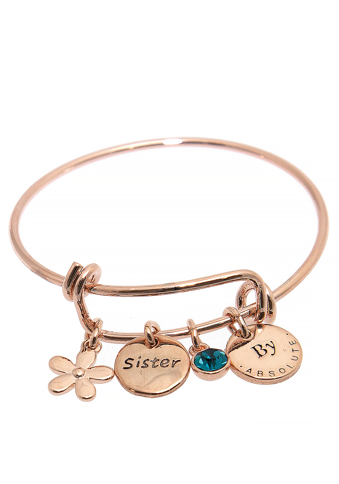 Absolute Jewellery Girls Sister Charm Bangle, Rose Gold