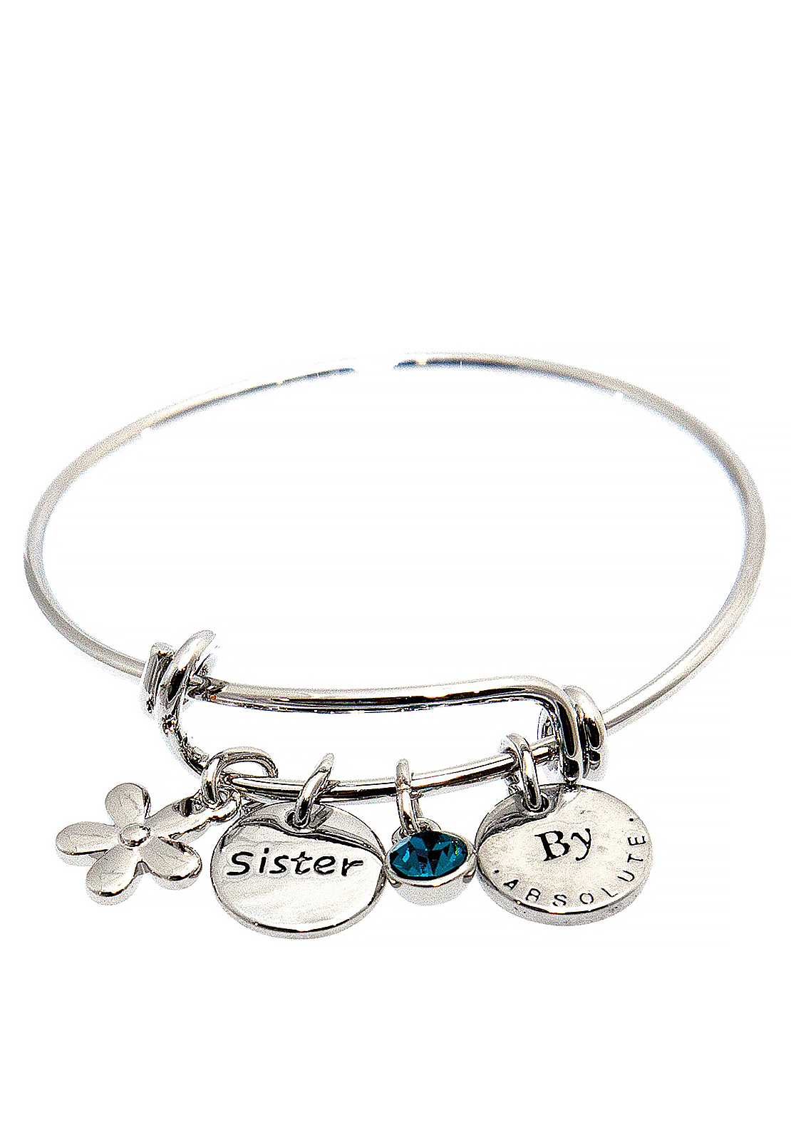 Absolute Jewellery Girls Sister Charm Bangle, Silver