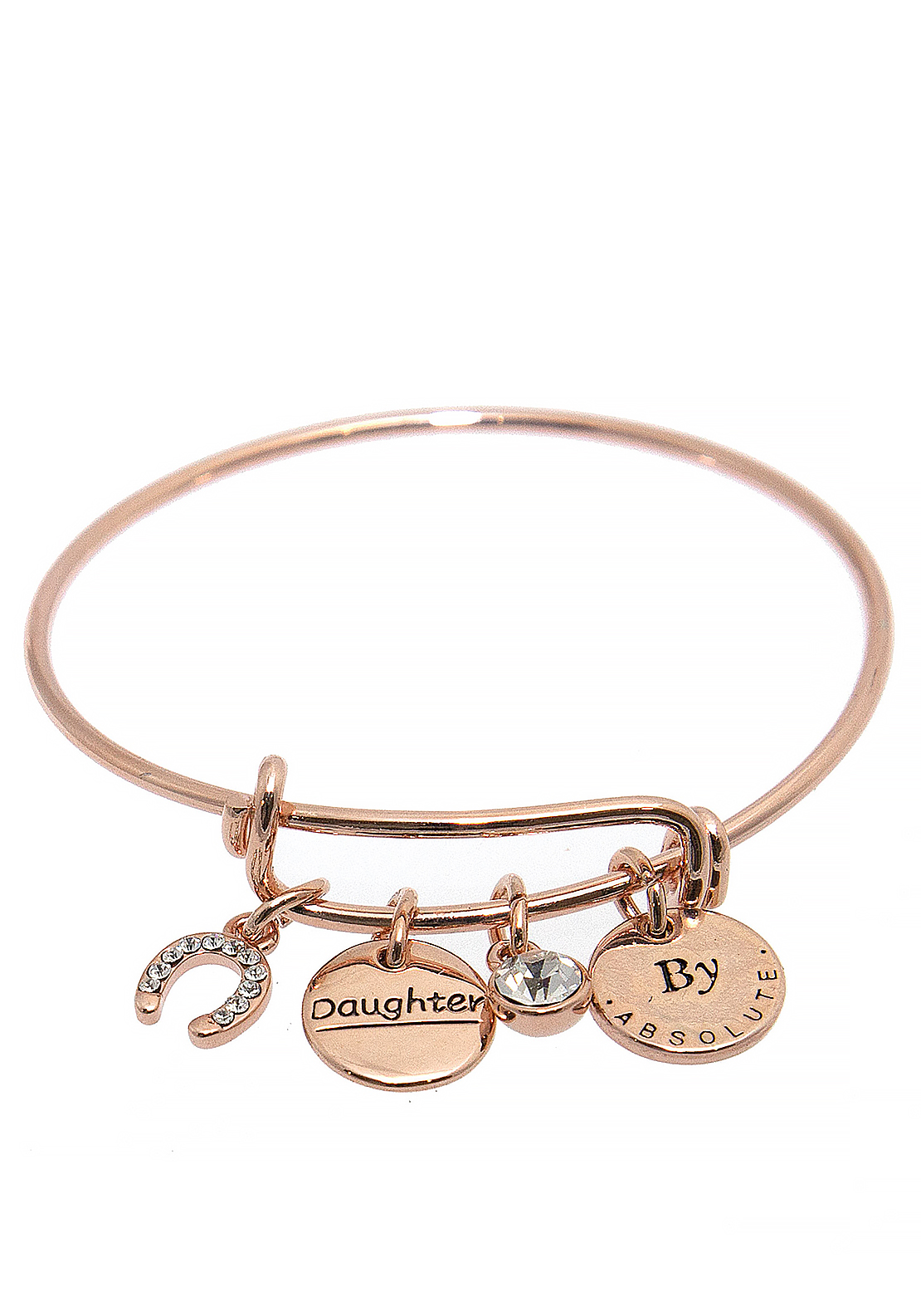 Absolute Jewellery Girls Daughter Charm Bangle, Rose Gold