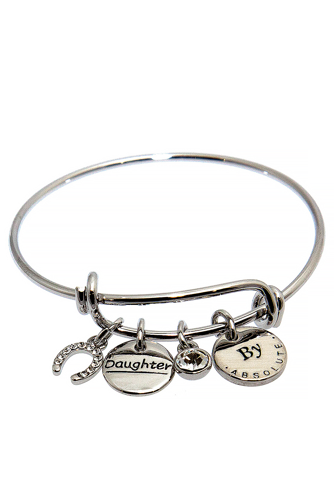 Absolute Jewellery Girls Daughter Charm Bangle, Silver