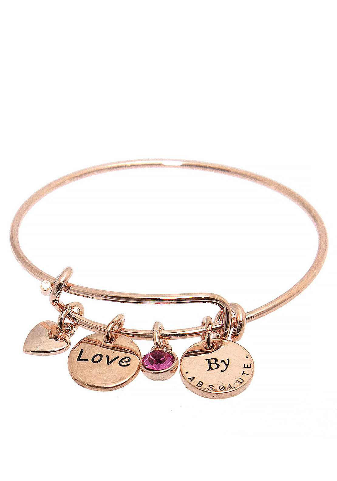 Absolute Jewellery Girls Love Charm Bangle, Rose Gold