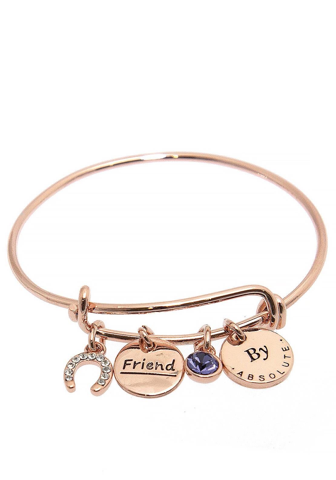 Absolute Jewellery Girls Friend Charm Bangle, Rose Gold