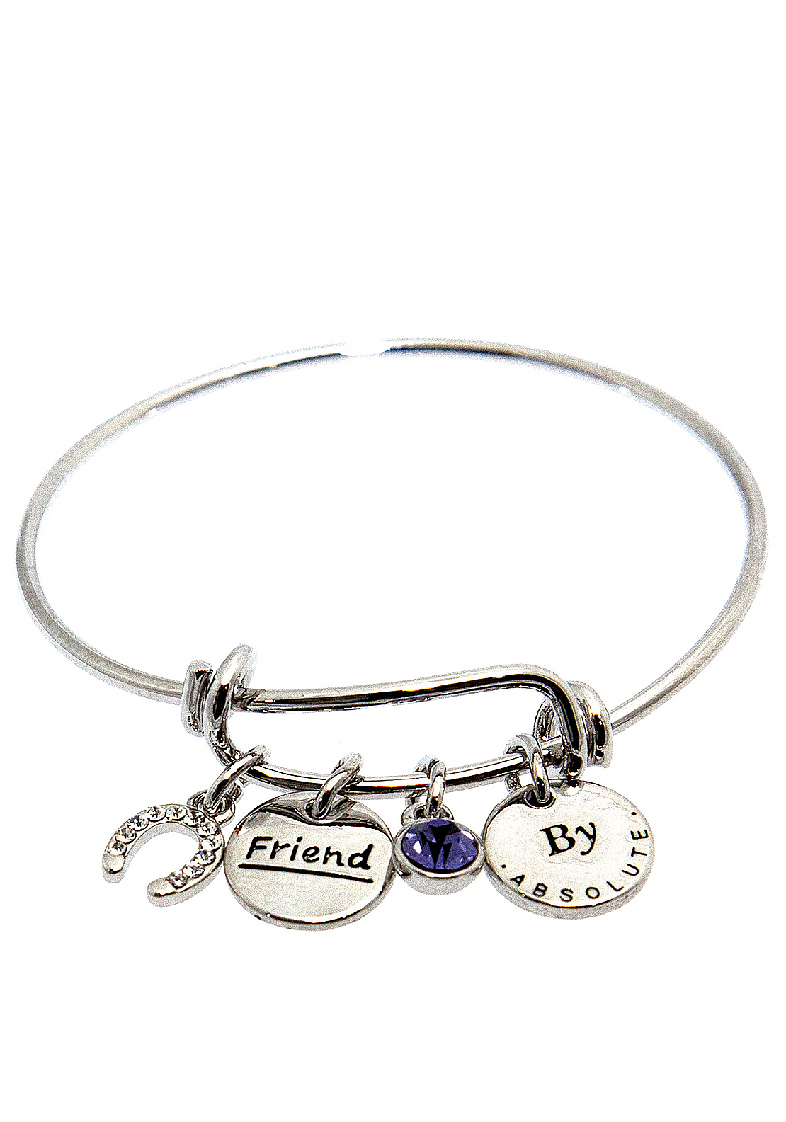 Absolute Jewellery Girls Friend Charm Bangle, Silver