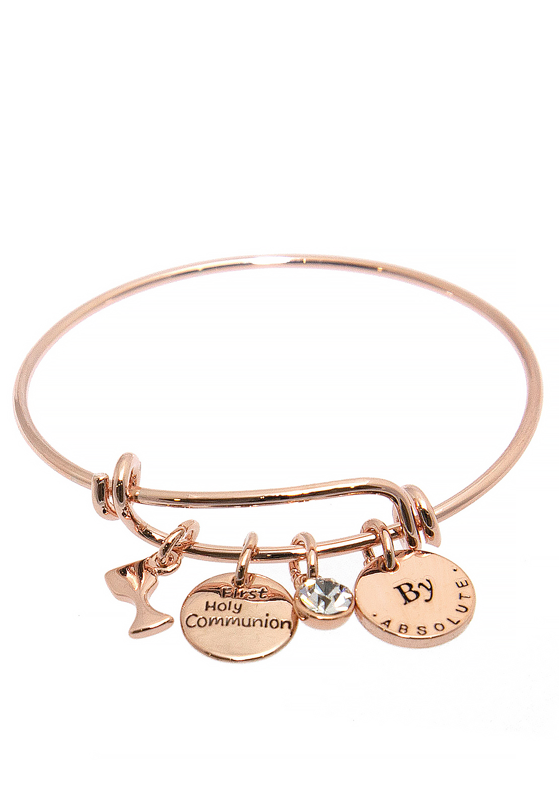 Absolute Jewellery Girls First Holy Communion Charm Bangle, Rose Gold