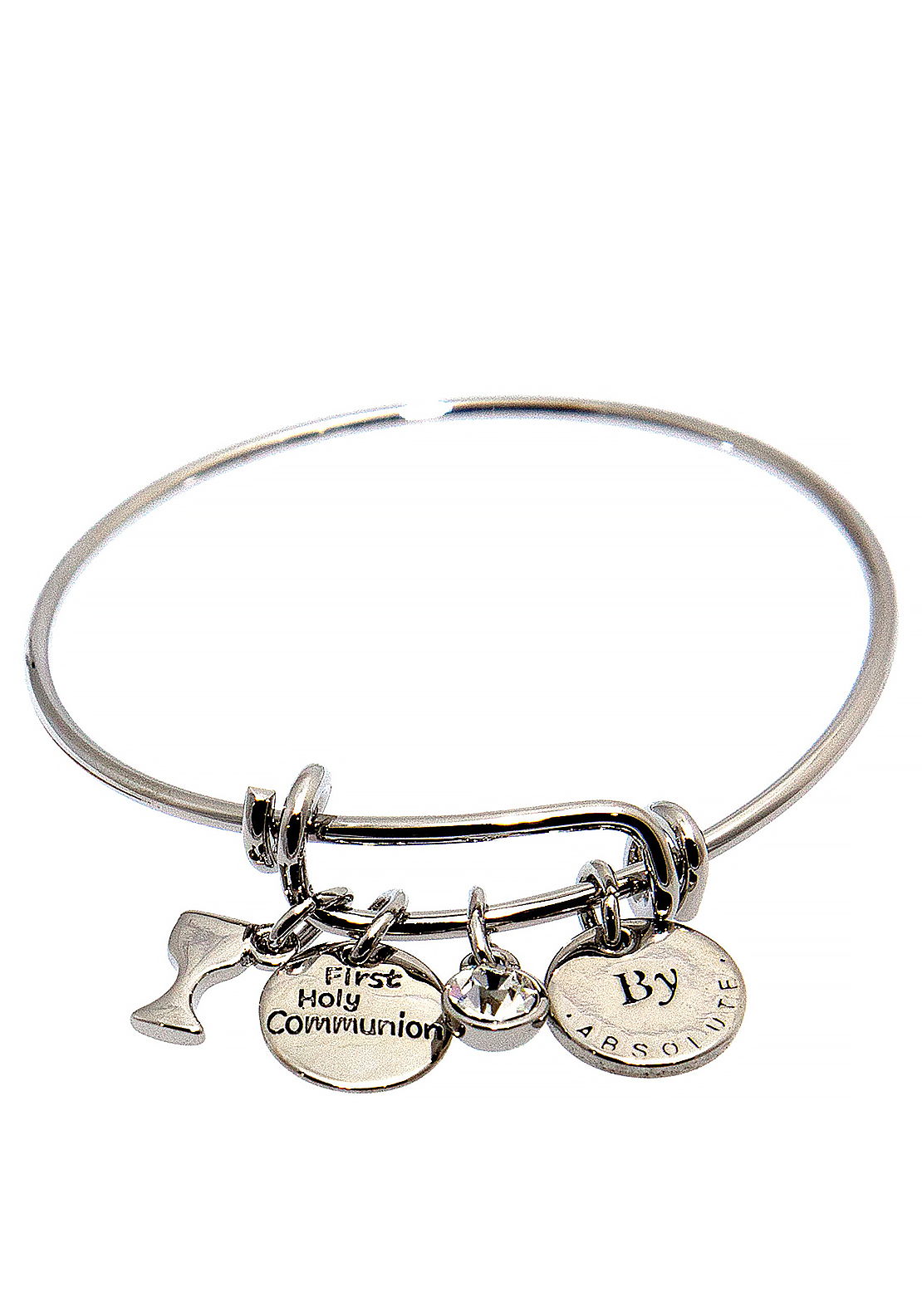 Absolute Jewellery Girls First Holy Communion Charm Bangle, Silver