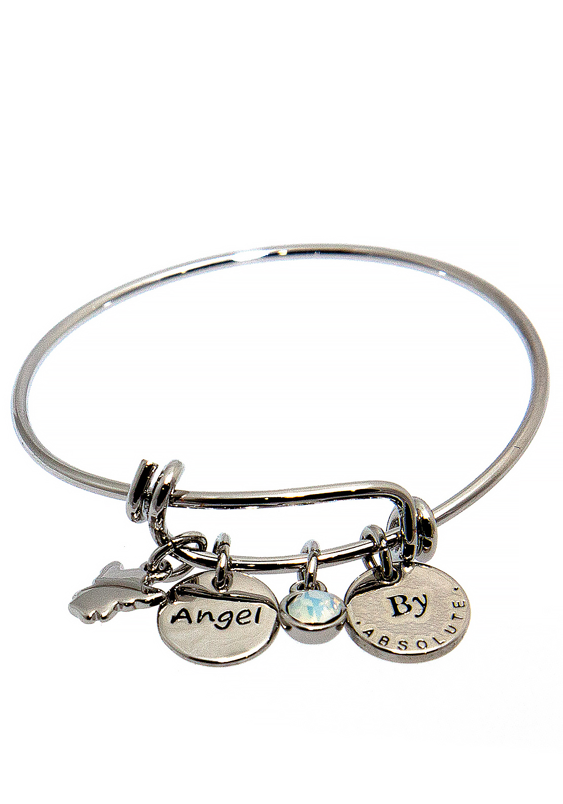Absolute Jewellery Girls Angel Charm Bangle, Silver