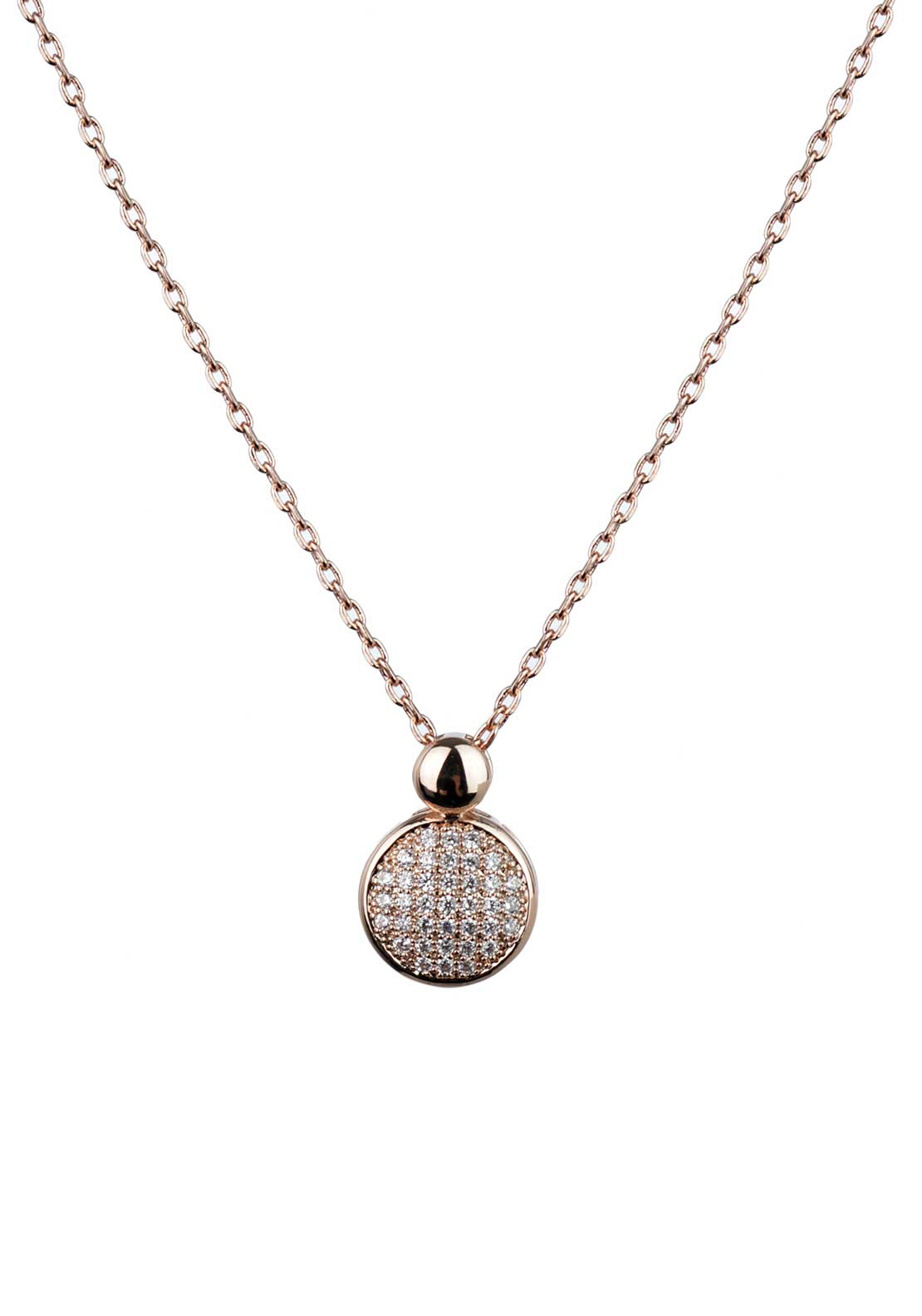 Absolute Jewellery Girls Pave Studded Pendant Necklace, Rose Gold