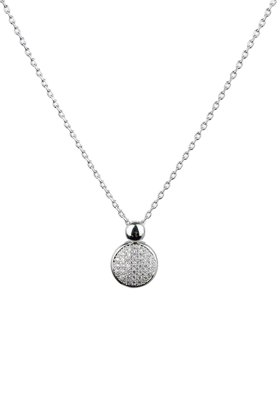 Absolute Jewellery Girls Pave Studded Pendant Necklace, Silver
