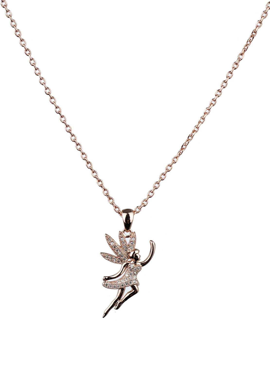 Absolute Jewellery Girls Pave Studded Fairy Pendant Necklace, Rose Gold