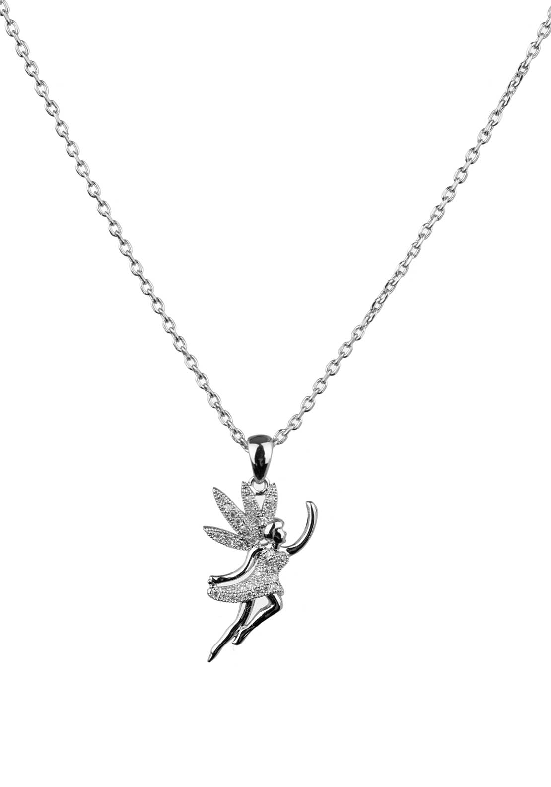 Absolute Jewellery Girls Pave Studded Fairy Pendant Necklace, Silver