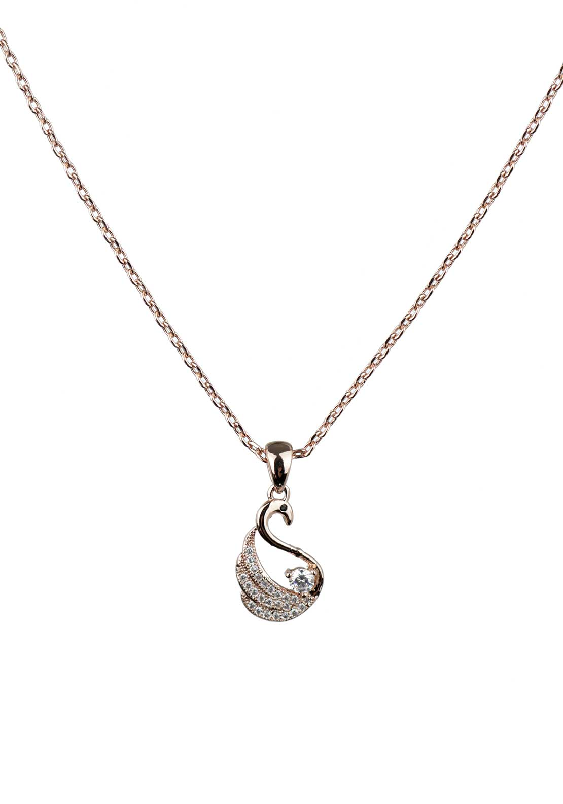 Absolute Jewellery Girls Pave Studded Swan Pendant Necklace, Rose Gold
