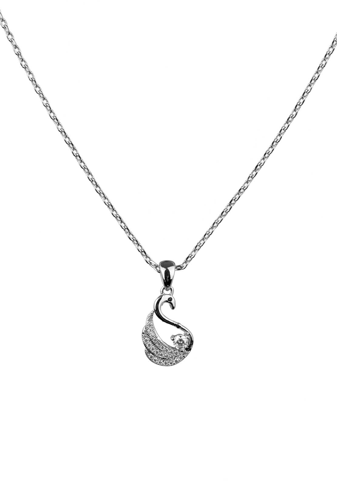 Absolute Jewellery Girls Pave Studded Swan Pendant Necklace, Silver