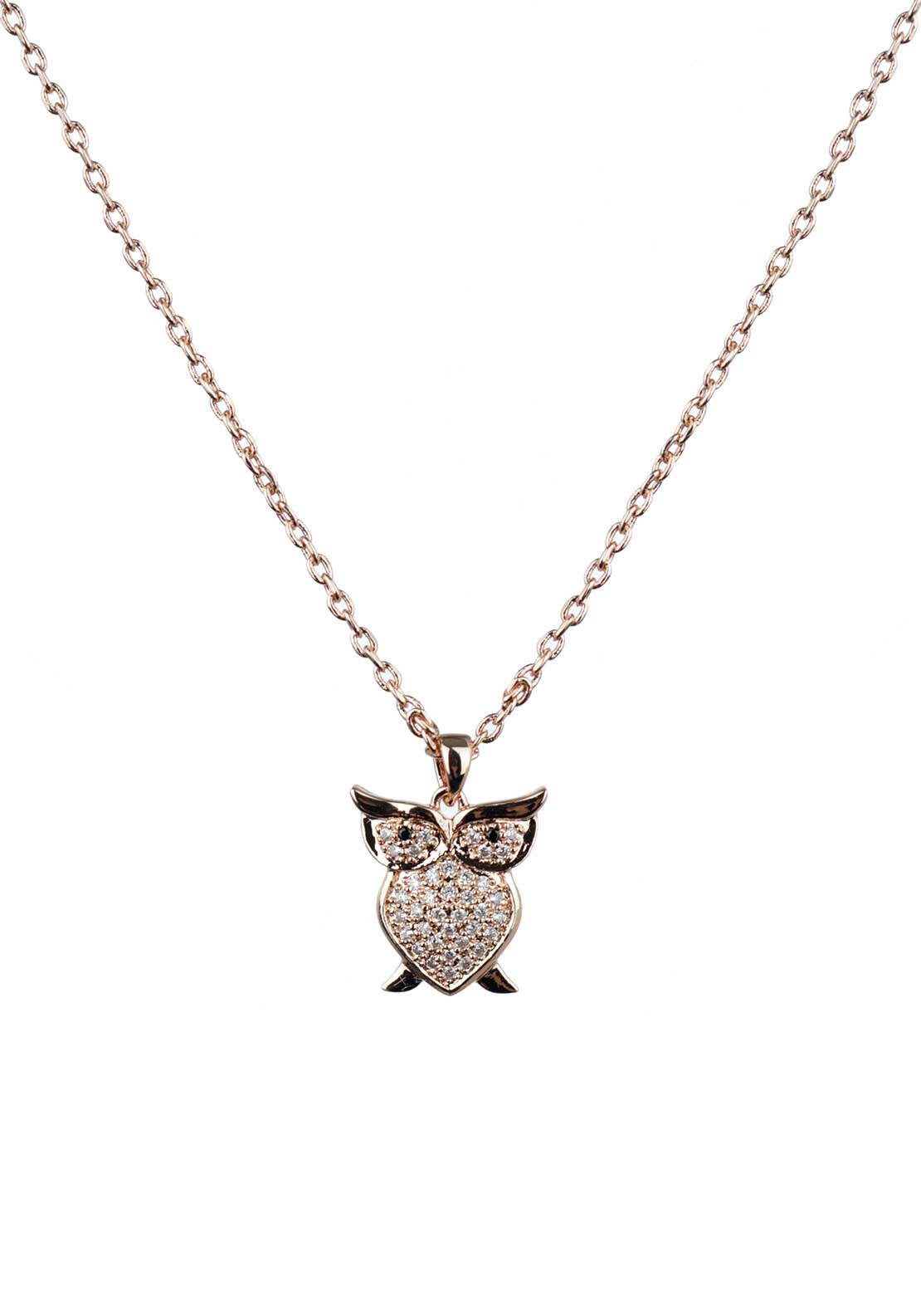 Absolute Jewellery Girls Pave Studded Owl Pendant Necklace, Rose Gold