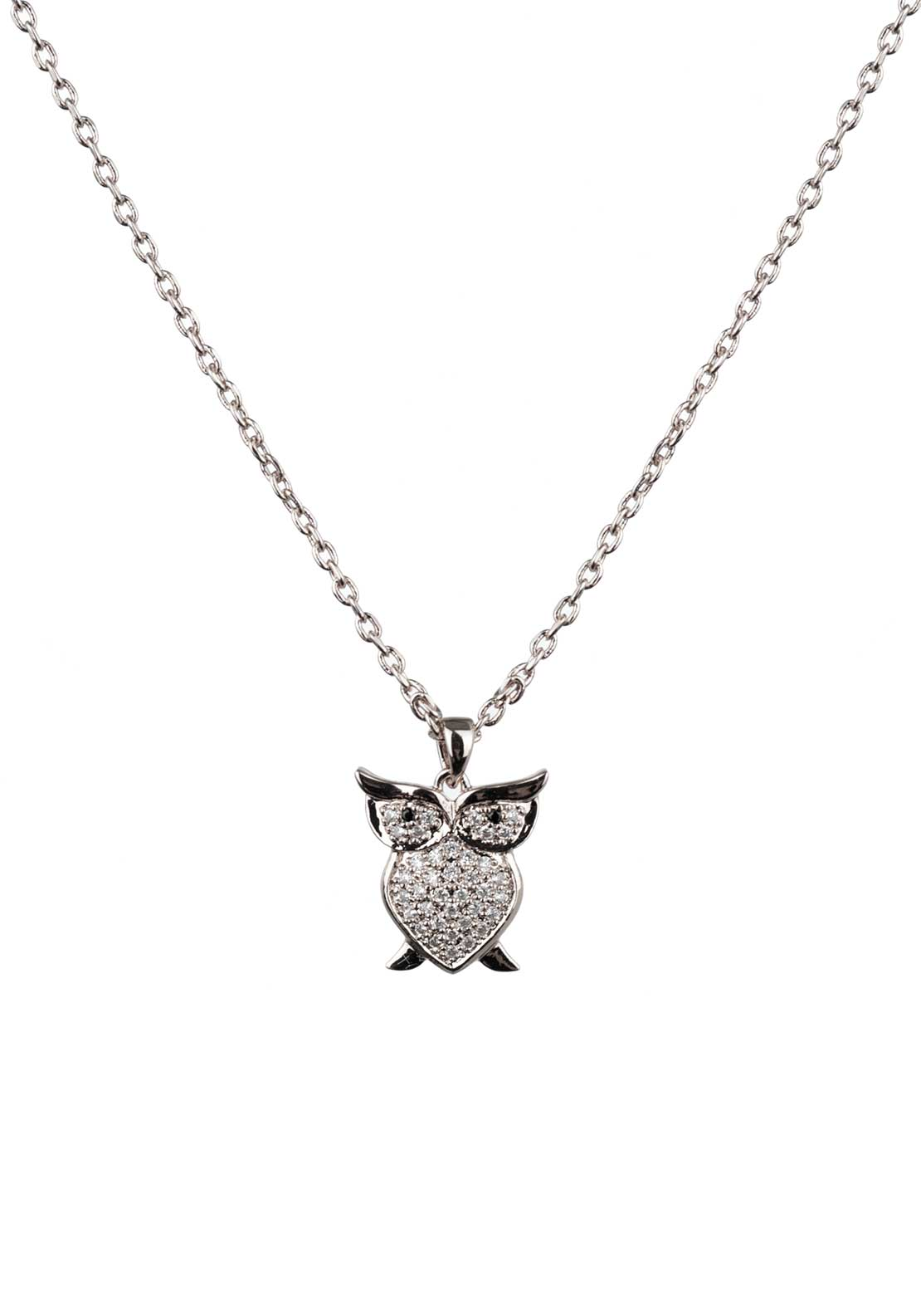 Absolute Jewellery Girls Pave Studded Owl Pendant Necklace, Silver