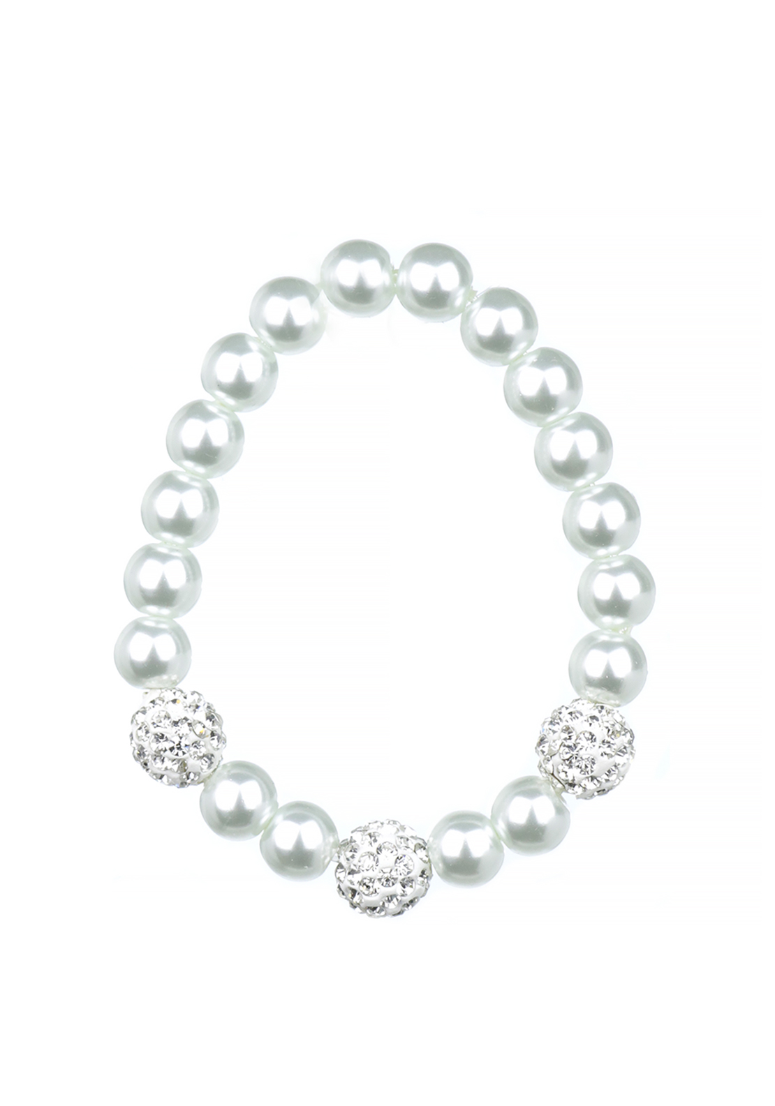 Absolute Jewellery Girls Pearl and Diamante Stretch Bracelet, White