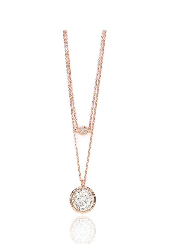 Absolute Jewellery Glitzy Coin Pendant, Rose Gold