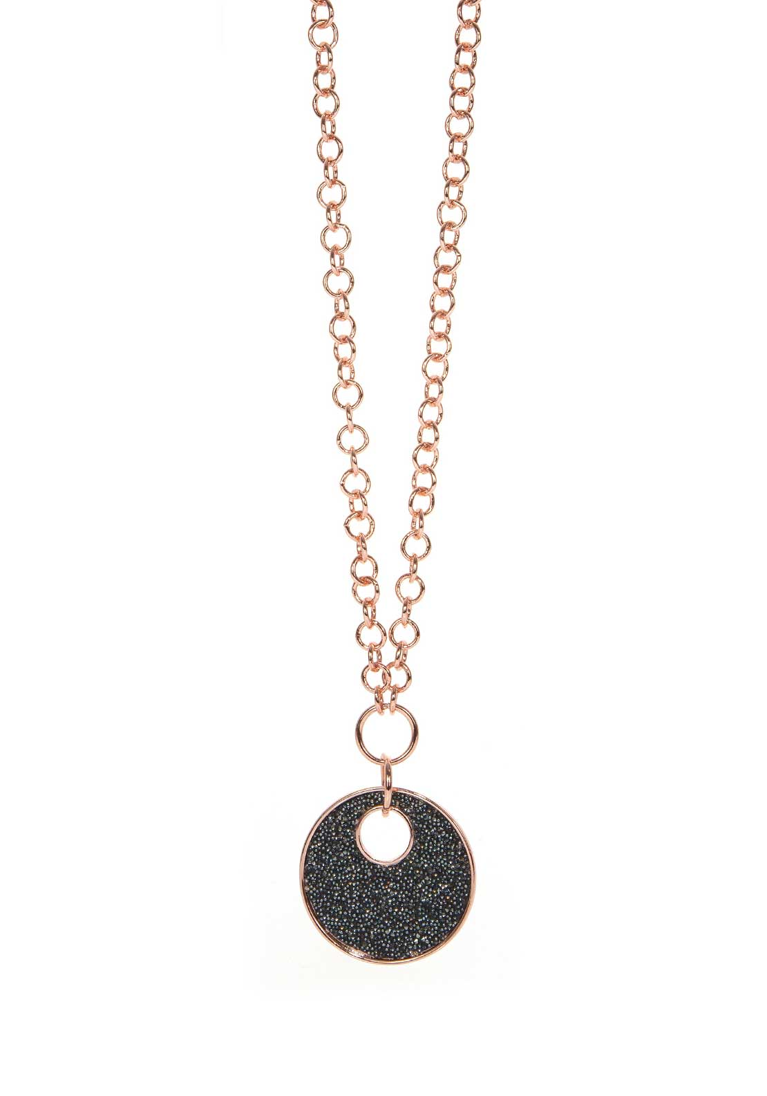 Absolute Jewellery Oynx Glittering Coin Pendant, Rose Gold