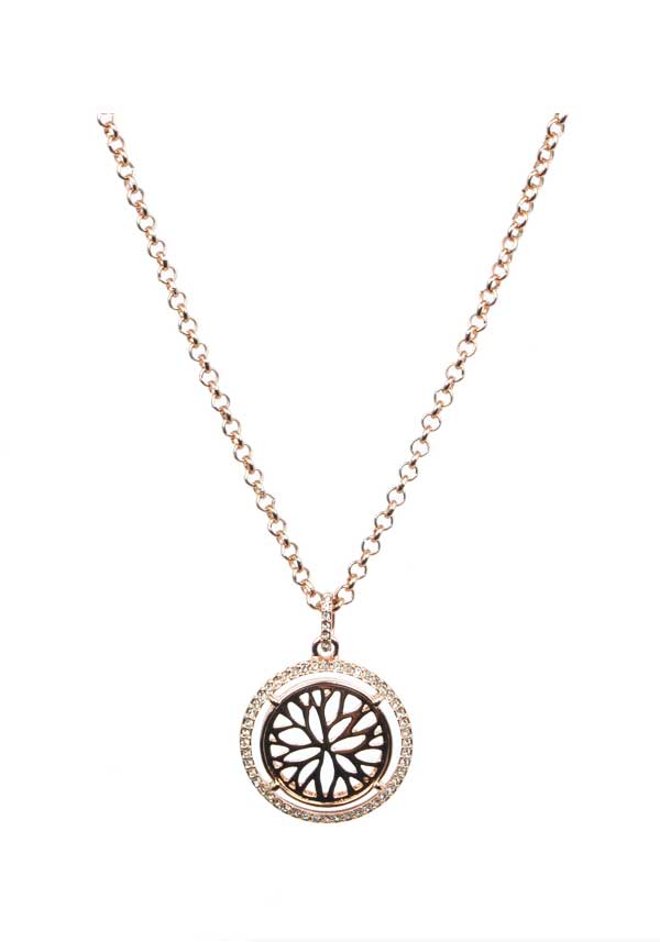 Absolute Jewellery Black and Crystal Steampunk Coin Pendant, Rose Gold