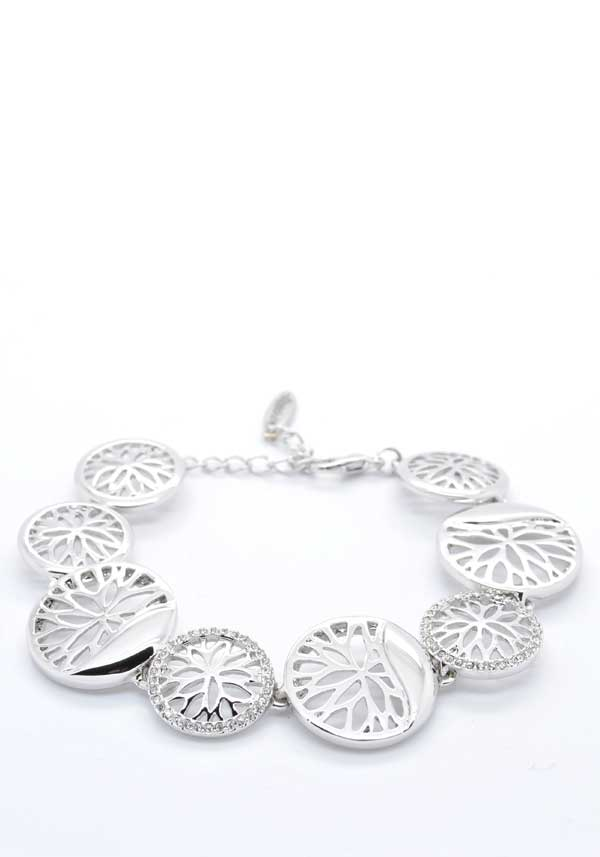 Absolute Jewellery Floral Coin Bracelet, Silver