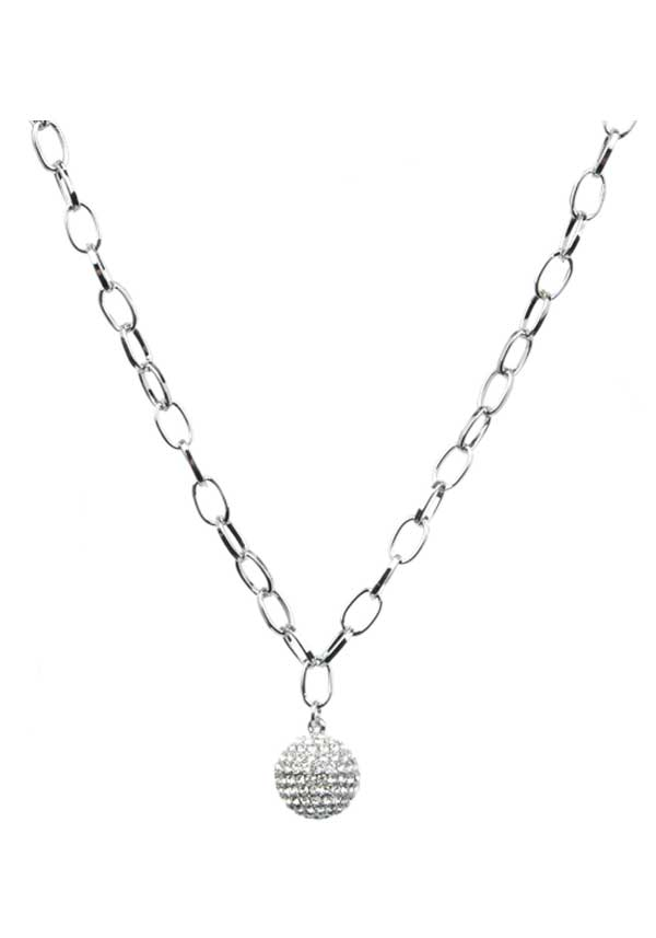 Absolute Jewellery Heavy Glitter Ball Necklace, Silver