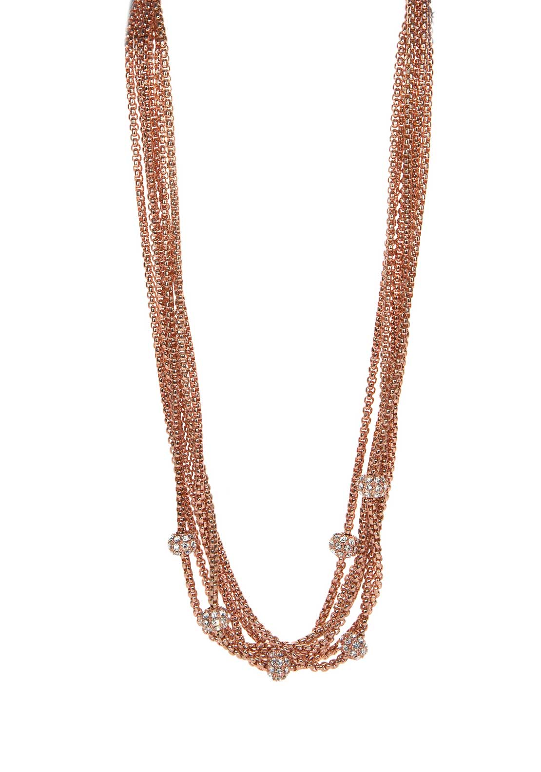 Absolute Jewellery Multi Strand Disco Ball Necklace, Rose Gold