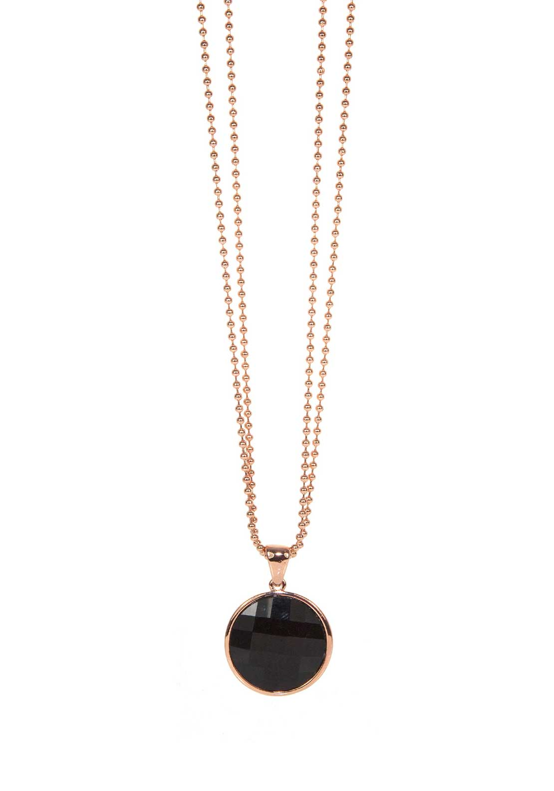 Absolute Jewellery Double Ball Chain Necklace with Black Pendant, Rose Gold