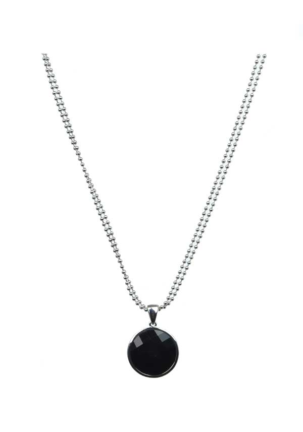 Absolute Jewellery Black Crystal Necklace, Silver
