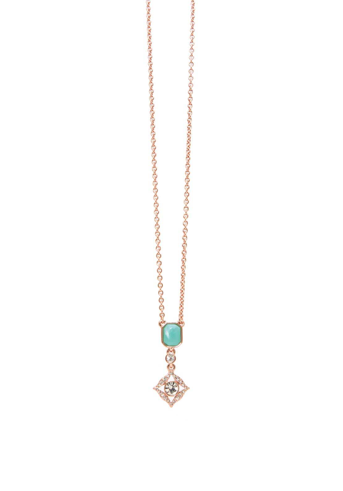 Absolute Charmed Chain Necklace, Rose Gold & Turquoise
