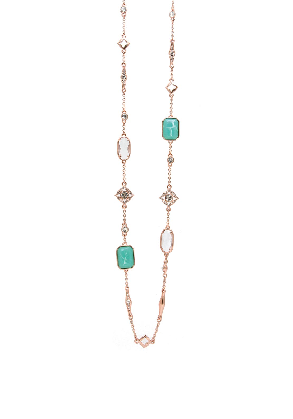 Absolute Long Chain, Rose Gold & Turquoise