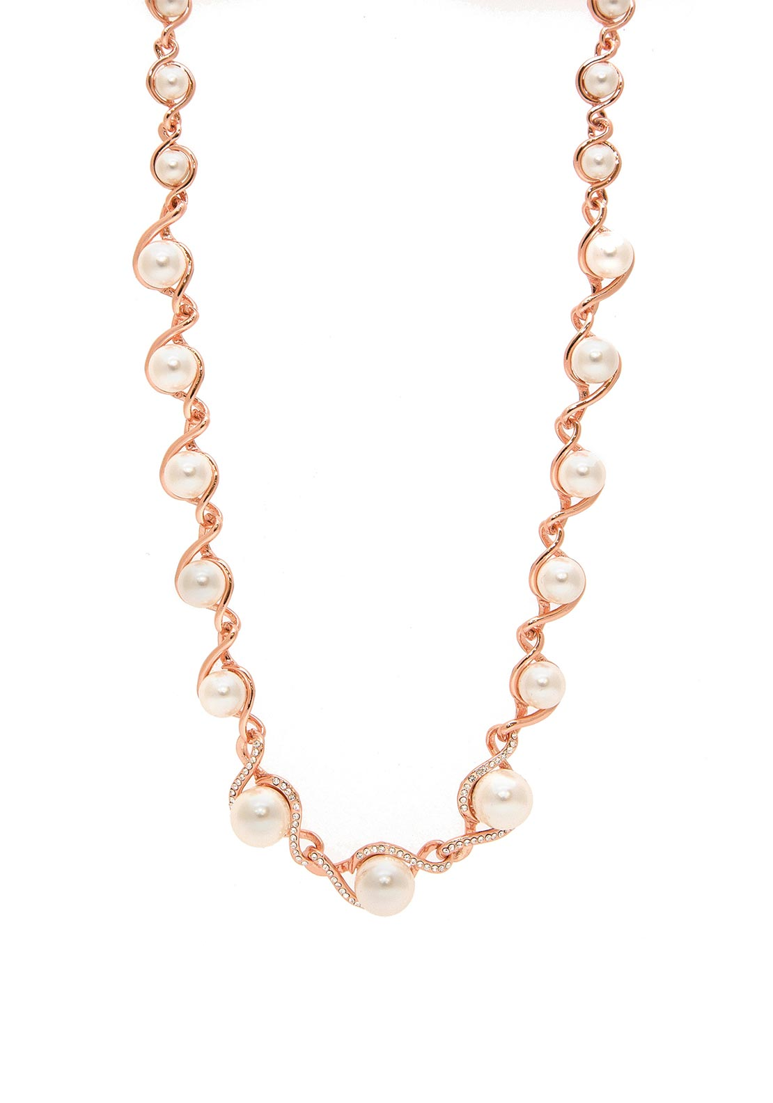 Absolute Pearl Studded Necklace, Rose Gold