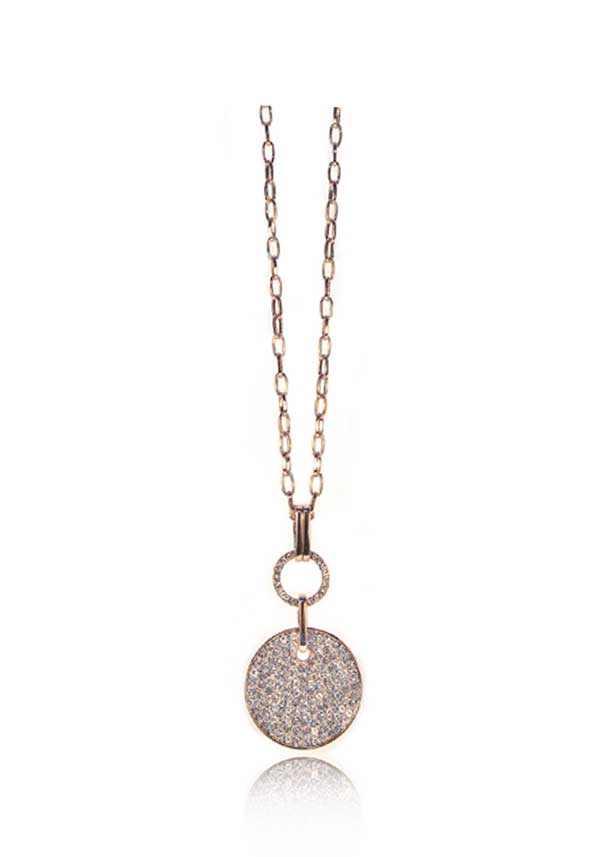 Absolute Jewellery Long Chain with Crystal Embellished Coin Pendant, Rose Gold