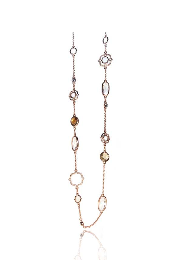 Absolute Jewellery Long Pearl & Crystal Necklace, Rose Gold